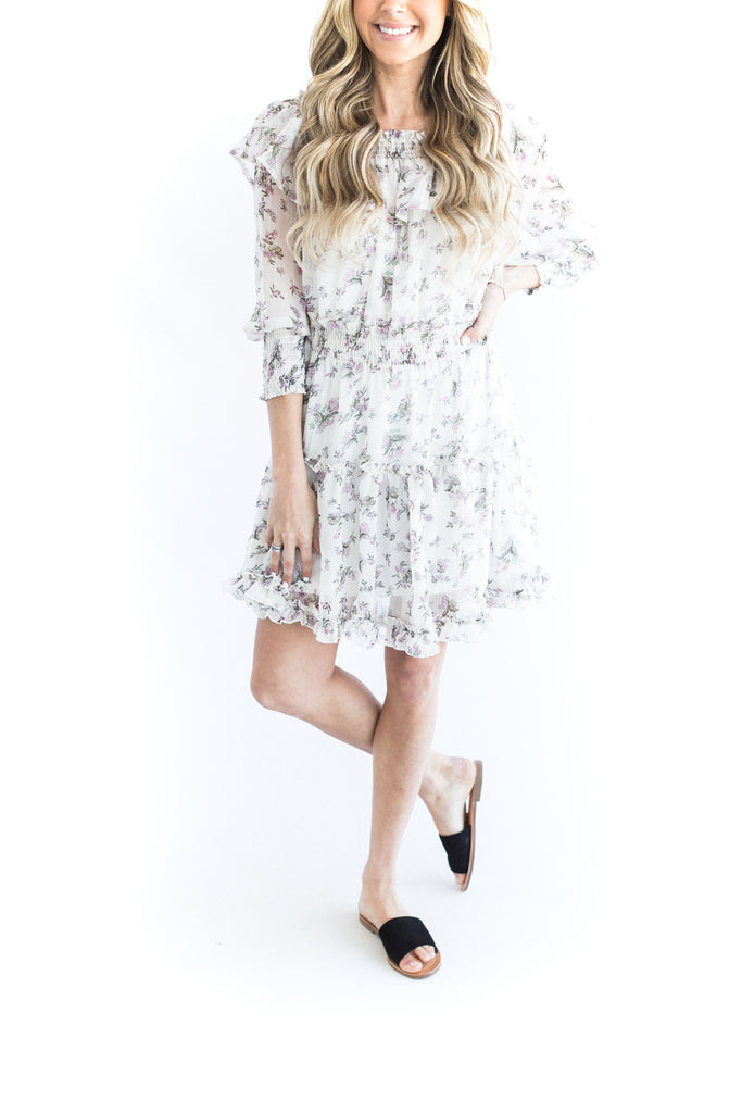 Off Shoulder Floral Dress - White