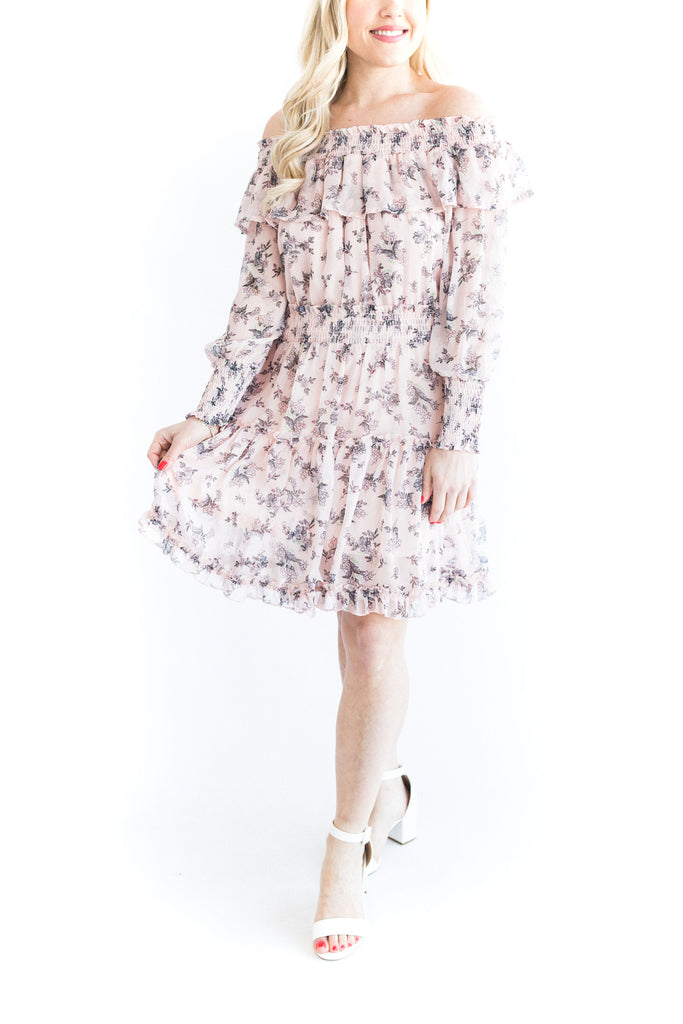 Off Shoulder Floral Dress - Pink