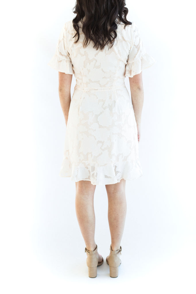 Floral Embossed Ruffled Dress