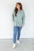 Oversized Sweatshirt with Pockets - Sage