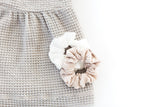 Satin Pleated Scrunchie - White