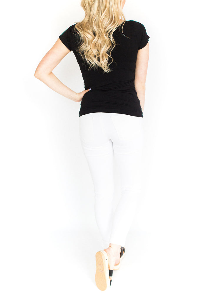 Short Sleeve Fitted Cami - Black