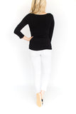 3/4 Sleeve Fitted Cami - Black