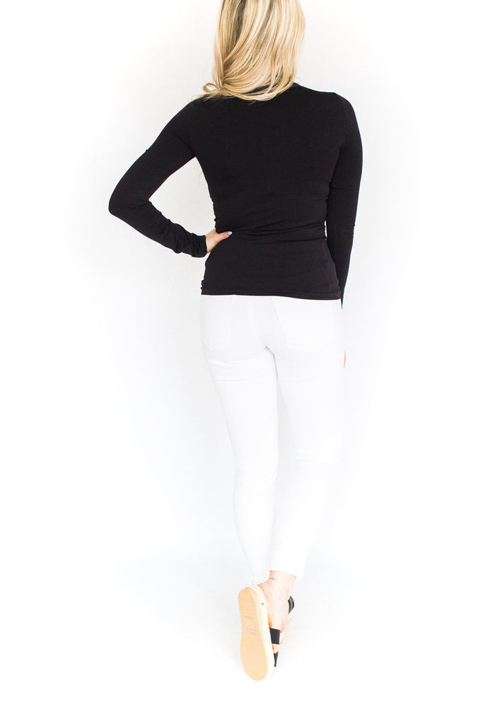 Turtle Neck Fitted Cami - Black