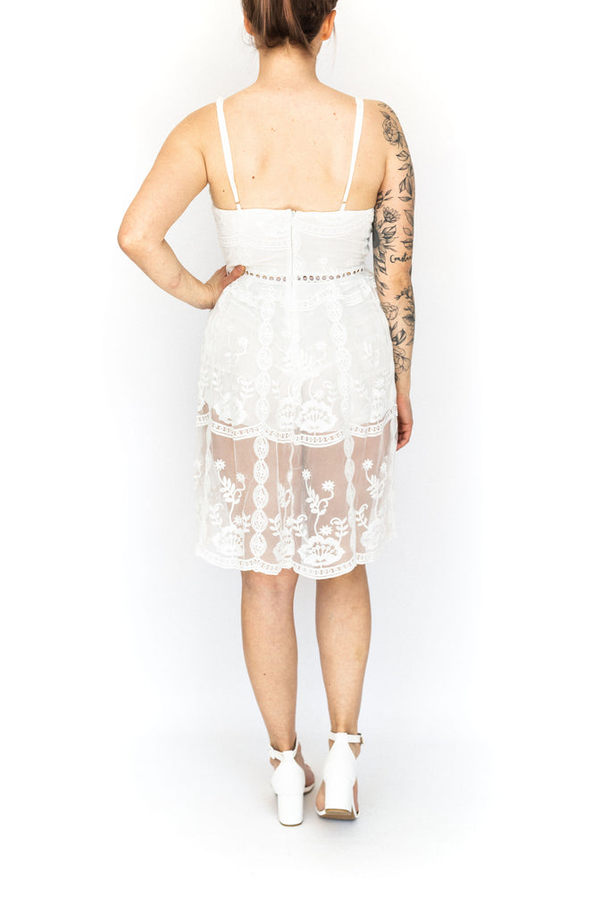 Romper with Lace Overlay