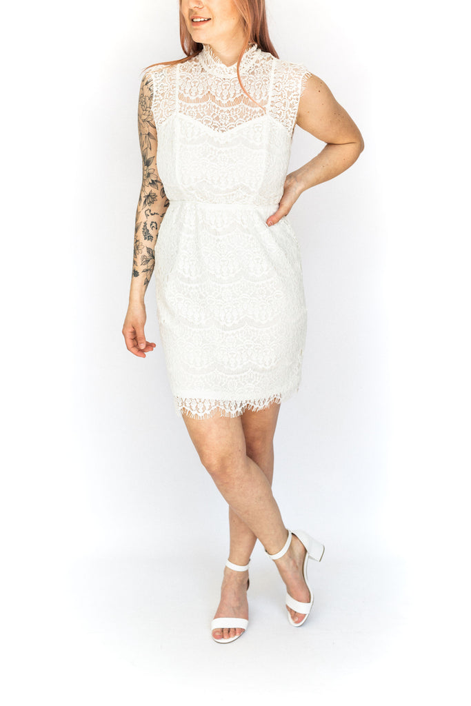 High Neck Open Back Lace Dress - White