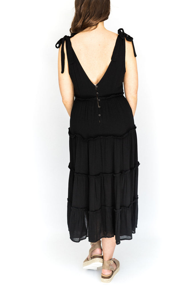 Tiered Shoulder Tie Midi Dress - Black