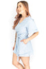 Short Sleeve V-Neck Romper - Blue