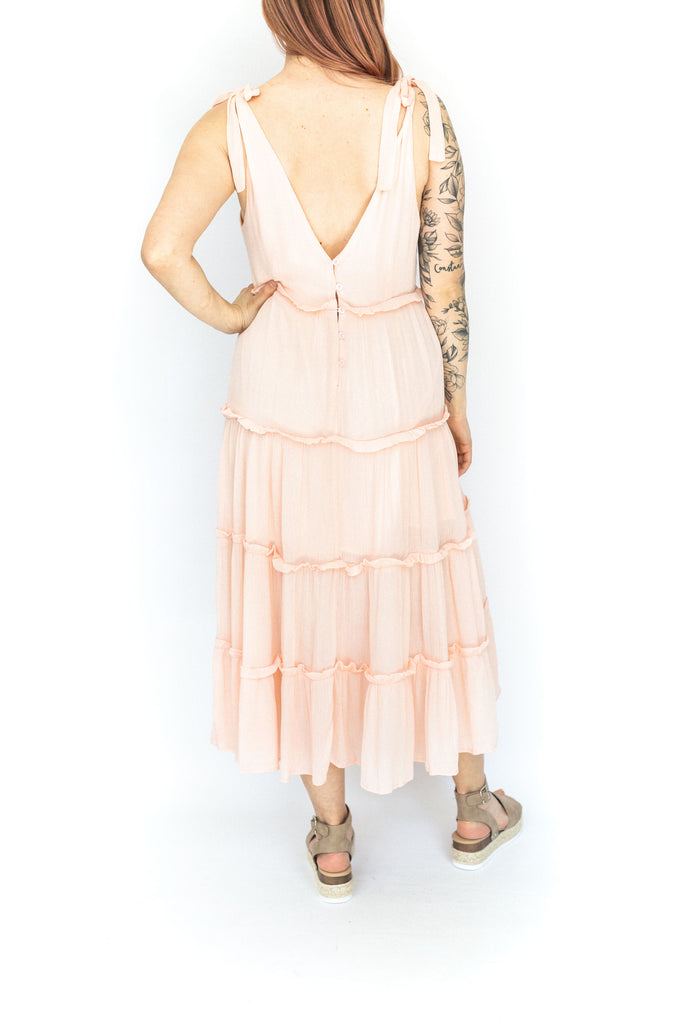 Tiered Shoulder Tie Midi Dress - Pink