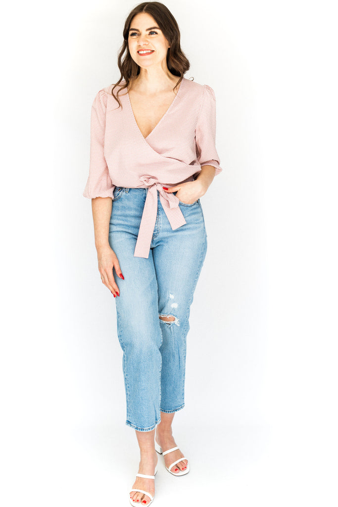 Seersucker Wrap Shirt - Pink