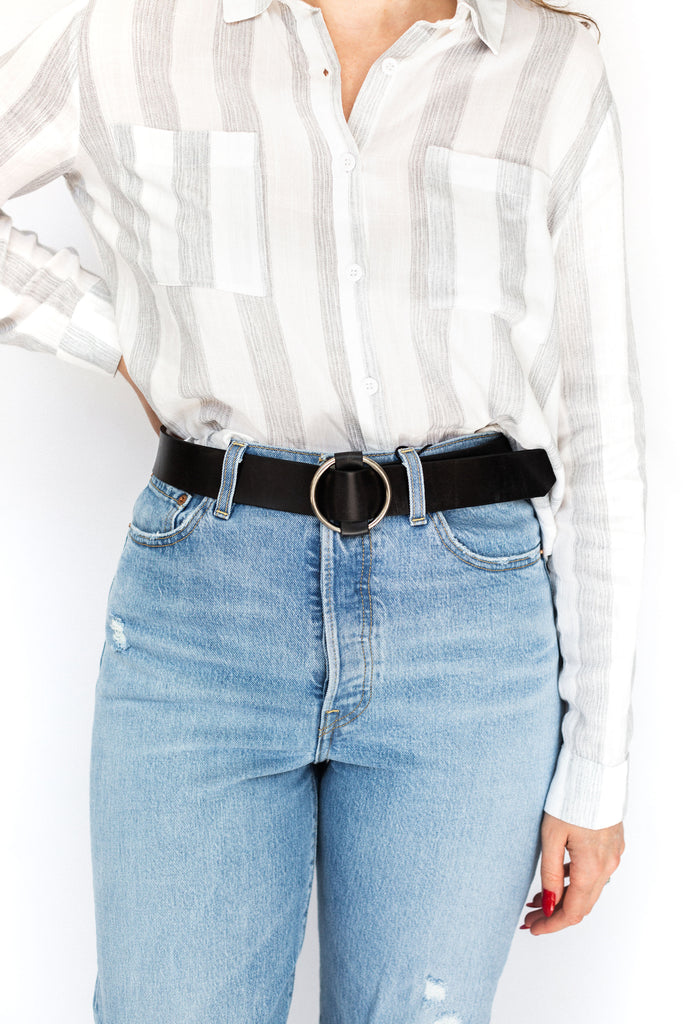 Faux Leather Slide Belt - Black