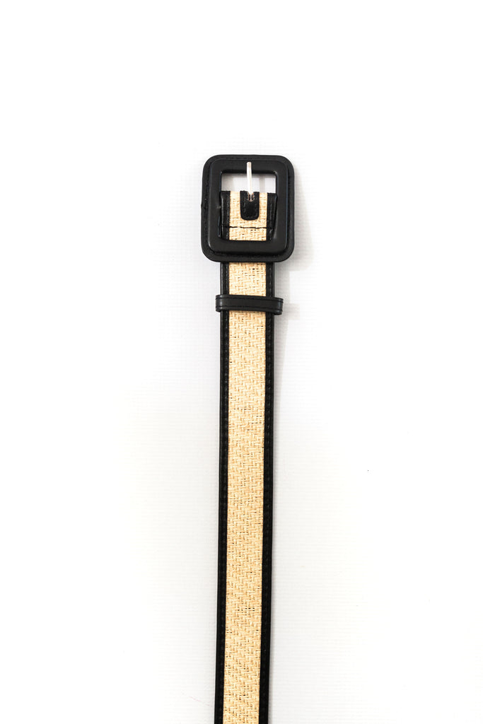 Square Buckle Woven Straw Belt