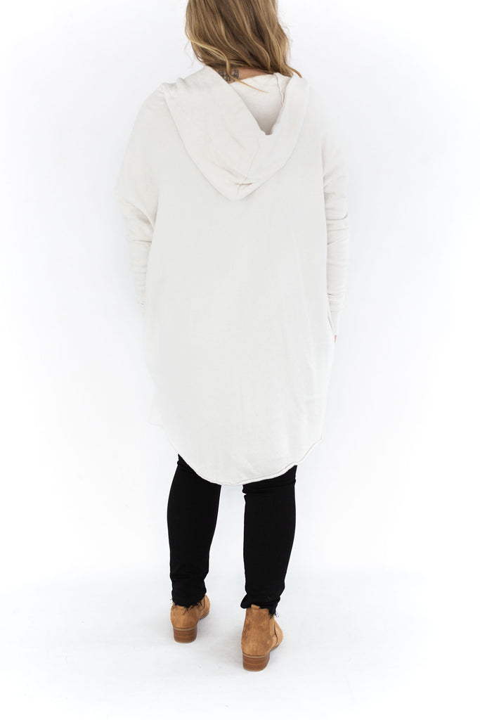 Open Front Hoodie Cardigan - Ivory