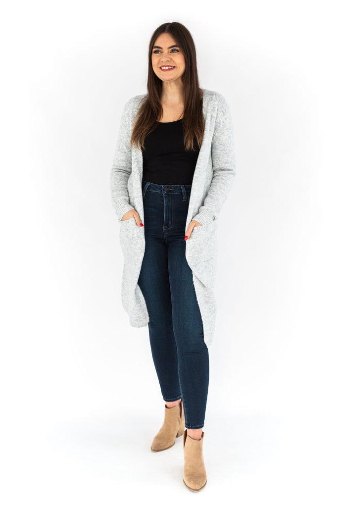 Long Sleeve Open Front Cardigan - Grey