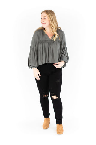 Metalic Polka Dot Blouse - Black