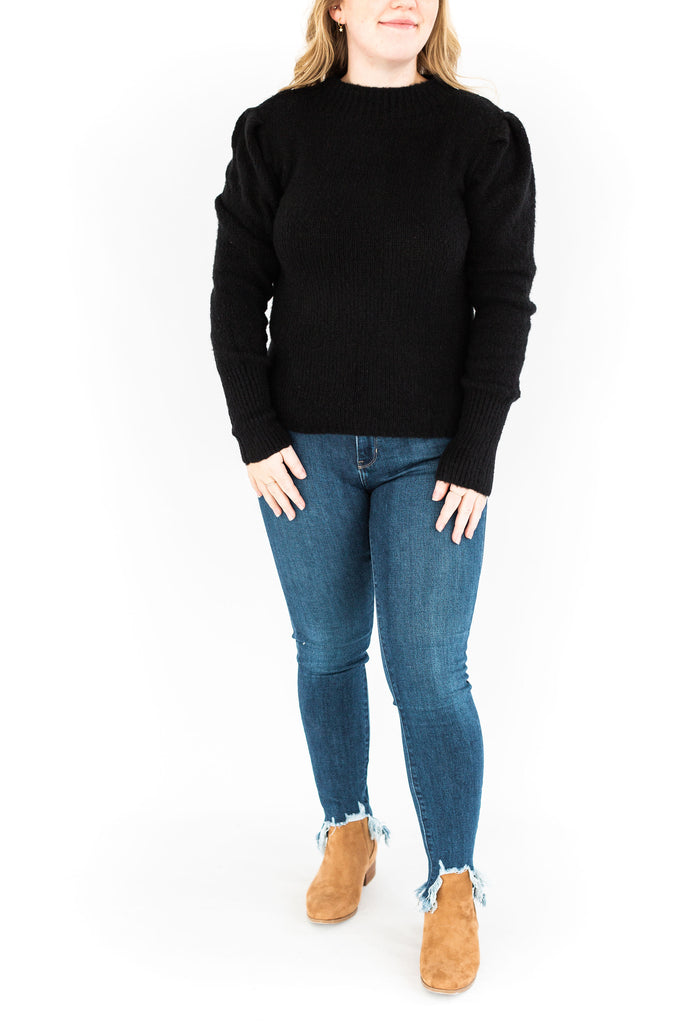 Puff Sleeve Mock Neck Sweater - Black