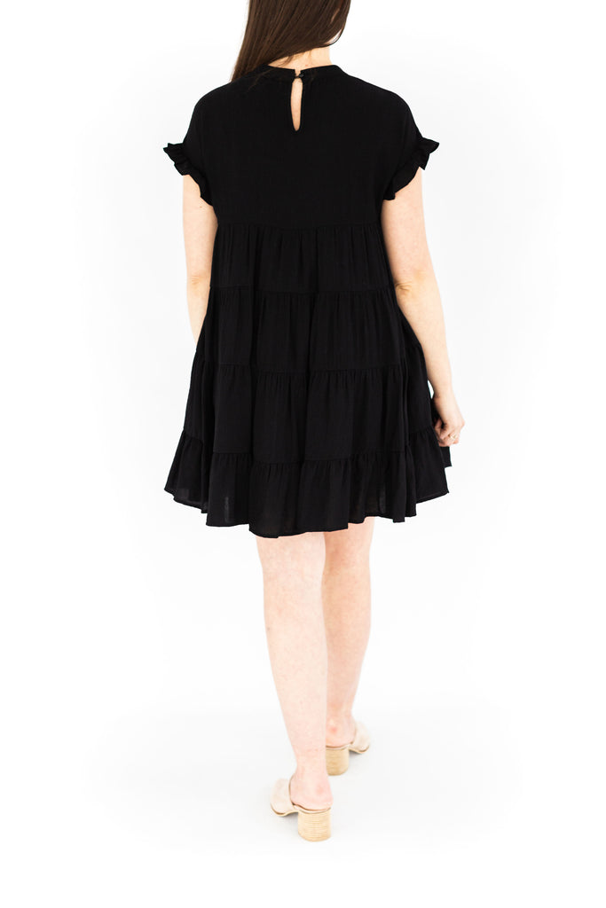 Solid Tiered Babydoll - Black