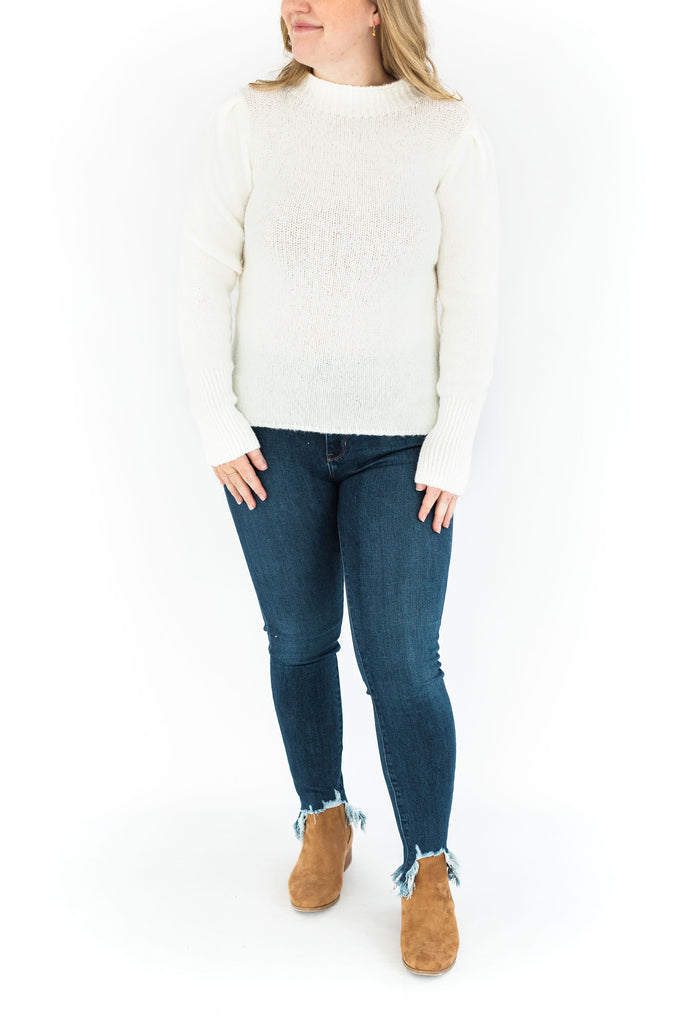 Puff Sleeve Mock Neck Sweater - Ivory