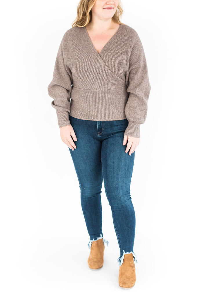 Faux Wrap Sweater - Mocha