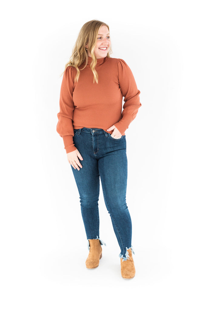 Puff Shoulder Turtleneck - Terracotta