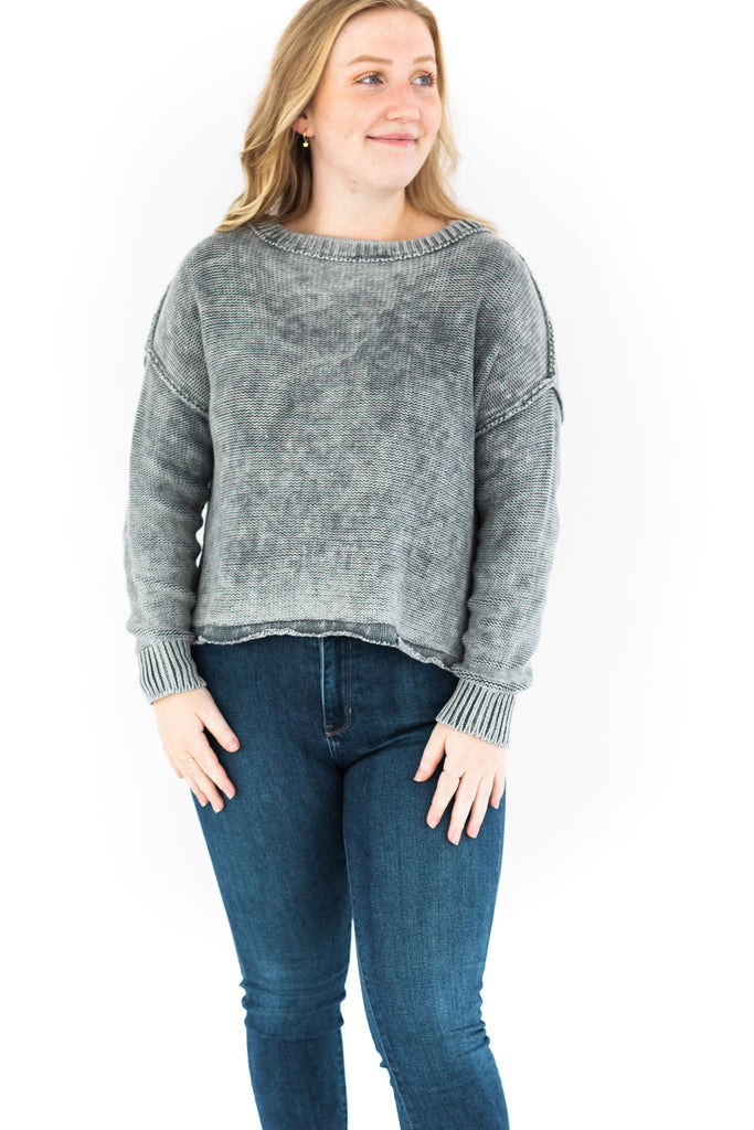 Ribbed Brushed Knit Sweater - Charcoal