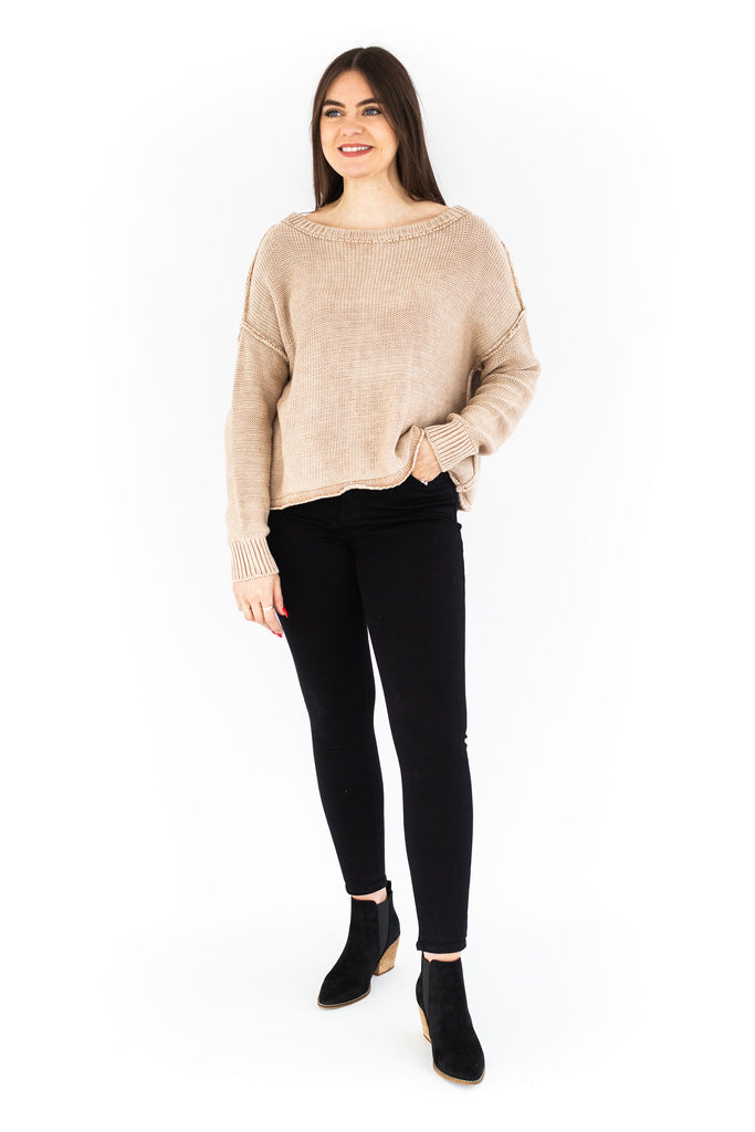 Ribbed Brushed Knit Sweater - Beige