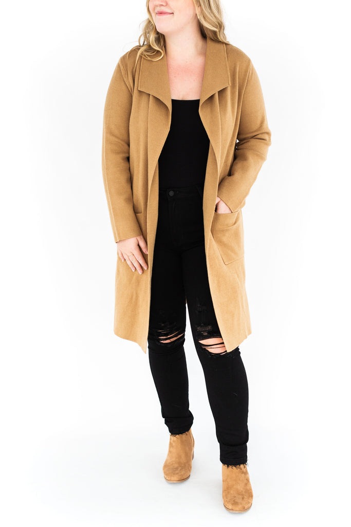Long Open Front Cardigan - Camel