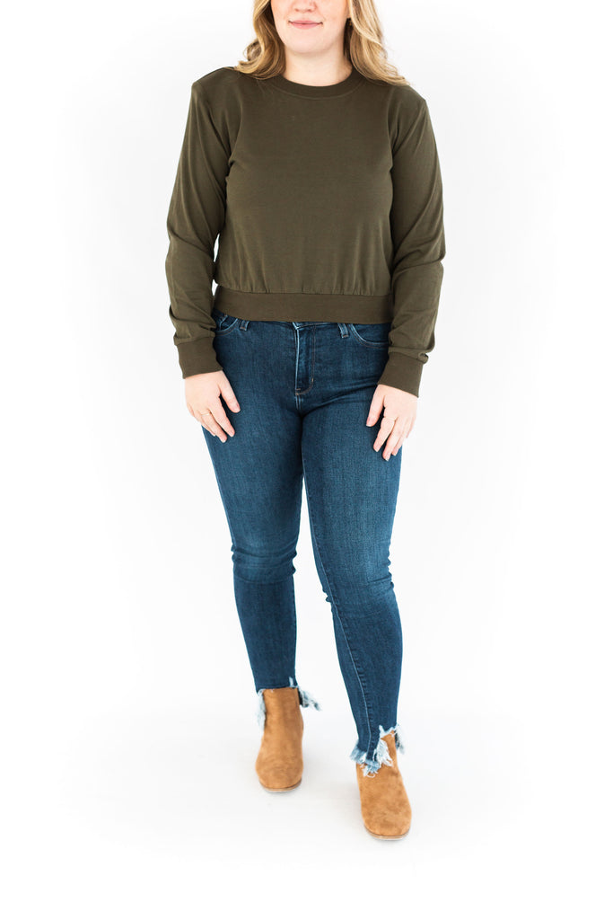 Padded Shoulder Sweatshirt - Olive