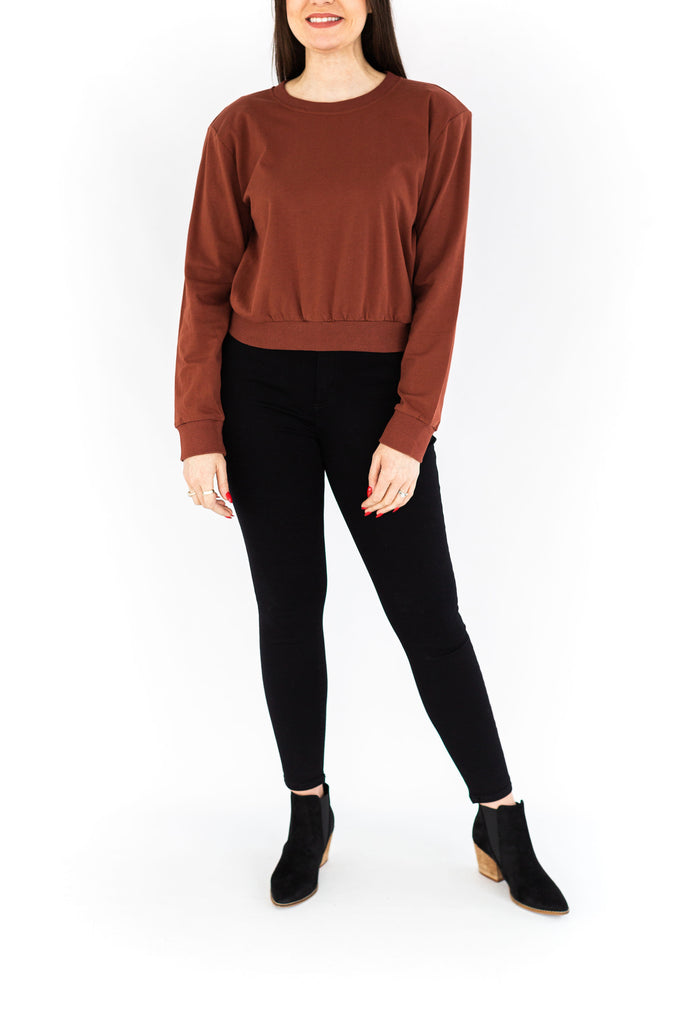 Padded Shoulder Sweatshirt - Brick