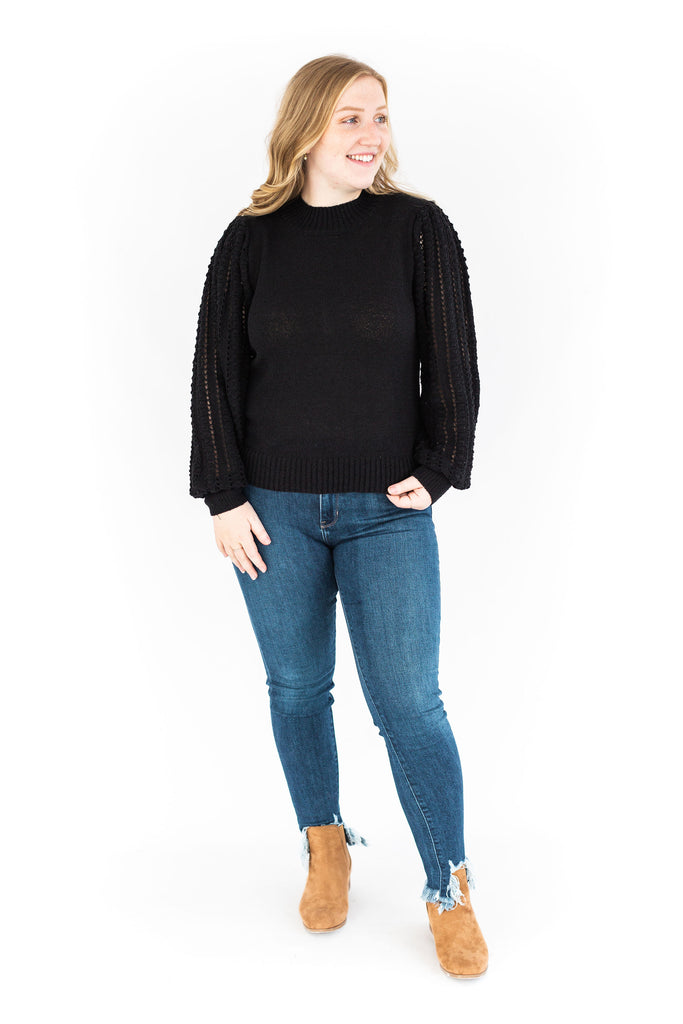 Black Knit Sweater with Sleeve Details