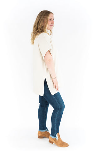 Washed Tee with Puff Sleeve