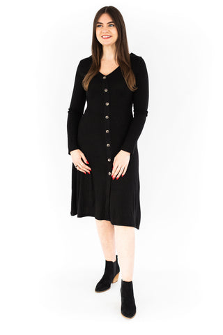 Side Pleating Dress - Black