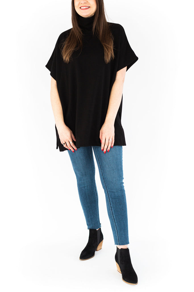 Turtle Neck Short Sleeve Tunic - Black