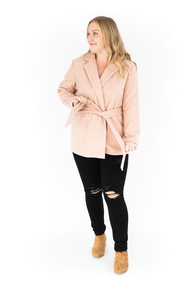 Classic Jacket with Waist Tie - Pink