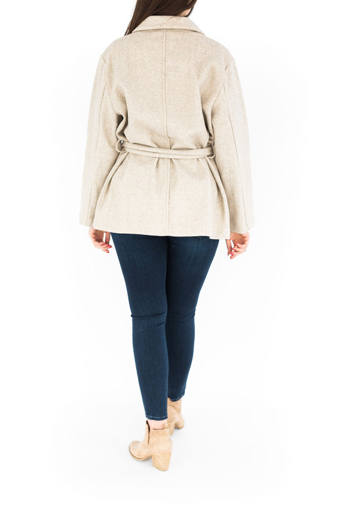 Classic Jacket with Waist Tie - Oatmeal