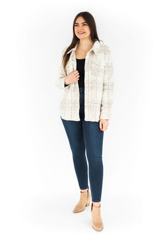 Checkered Double Breasted Blazer - Ivory