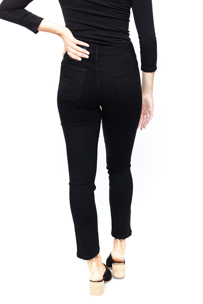 High Rise Destructed Skinny - Black