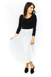 Pleated Midi Skirt - White