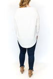 Scoop Hem Sweater - White
