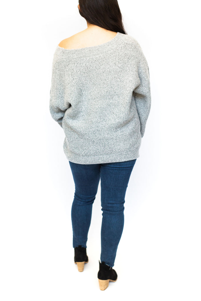 Deep V Knit Sweater - Grey