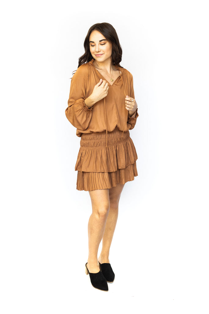Smocked Waist Dress - Caramel