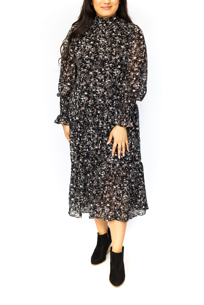High Neck Floral Midi Dress - Black