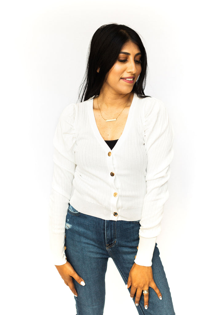 Puff Sleeve Button Down Top - Ivory
