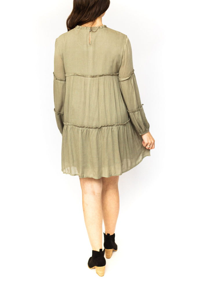 Babydoll Dress with Ruffle - Olive