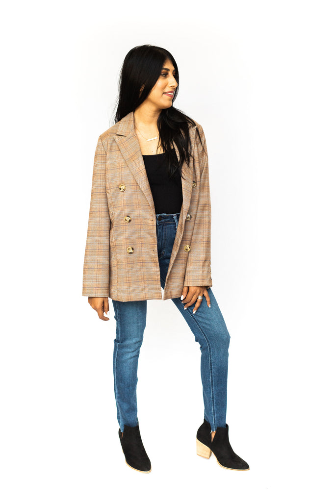 Double Breasted Blazer - Brown