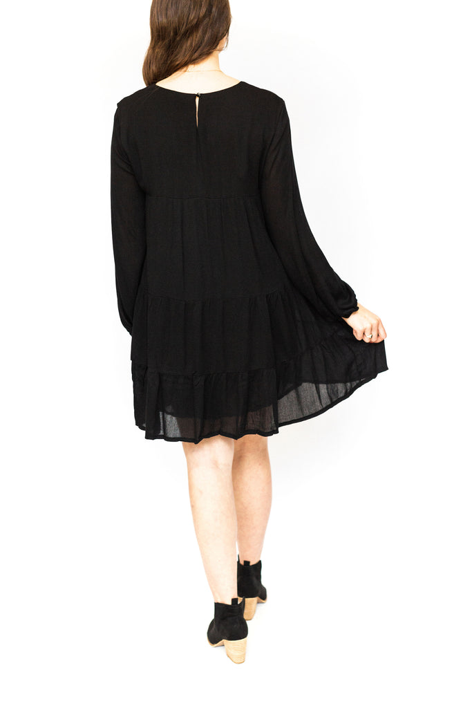 Classic Tiered Babydoll Dress - Black