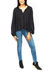 Balloon Sleeve Blouse - Black