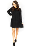 Babydoll Dress with Ruffle - Black