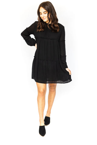 Strappy Mini Tiered Dress - Black