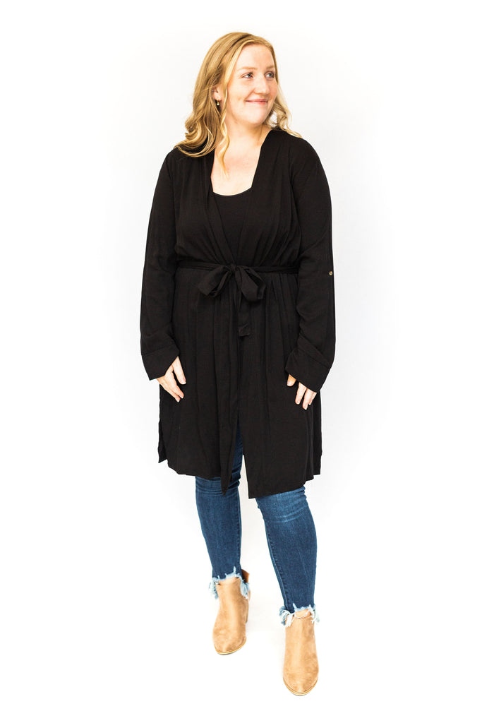 Trench with Roll Up Sleeve - Black